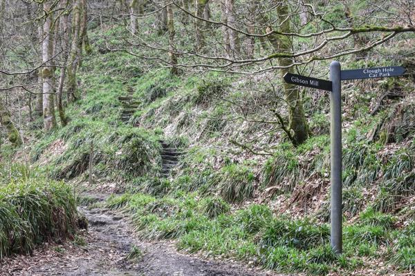 Go up steep stone steps