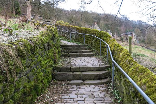 Steep cobbled lane