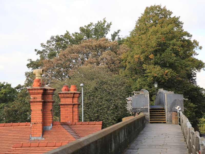 Along the city walls