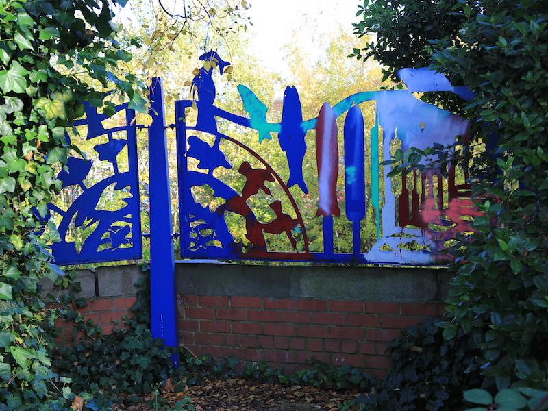 Decorative fencing on riverside walk