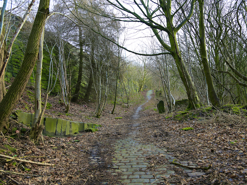 Cobbled track on right