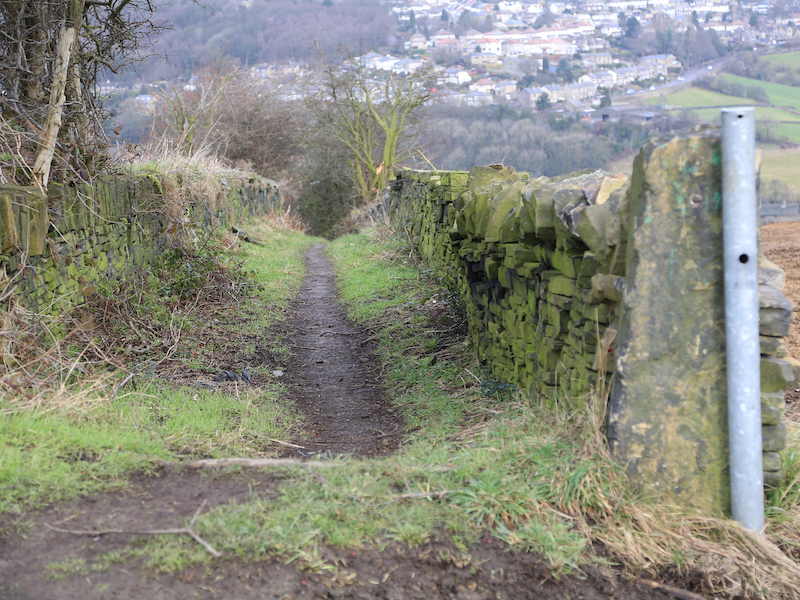Footpath to left of wall