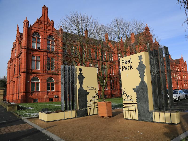 Exit campus by Peel Building